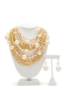 Faux Pearl Bauble Necklace Set