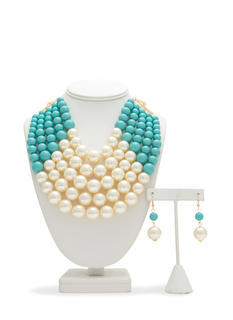 Colorblock Faux Pearl Necklace Set