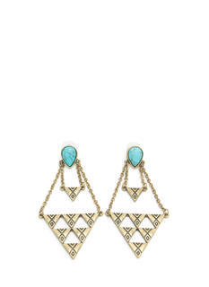 Textured Triangulated Stone Earrings