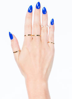 Open Metallic Faux Pearl Ring Set