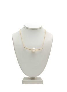 Metallic Faux Pearl 'N Bar Necklace