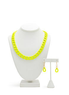 Neon Coated Chain Necklace Set