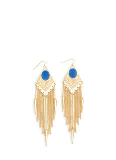 Spiked Fringe Faux Gem Plate Earrings
