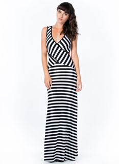 Stripe It 2 U Cross Front Maxi Dress