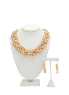 Metal Braided Chain Necklace Set