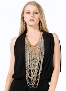 Layered Mixed Chains Necklace Set