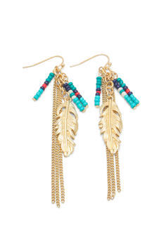 Beaded Feather And Chains Earrings