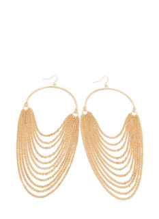 Half Hoop 'N Layered Chain Earrings