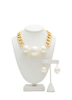 Oversized Faux Pearl Trio Necklace Set
