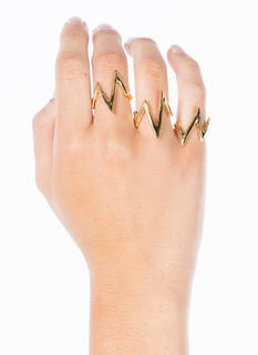 EKG Metallic Ring Trio