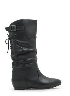Lace-Up Yourself Faux Leather Boots