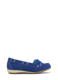 Perforated Faux Nubuck Boat Flats