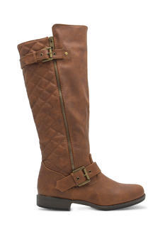 Quilted Inset Buckled Boots