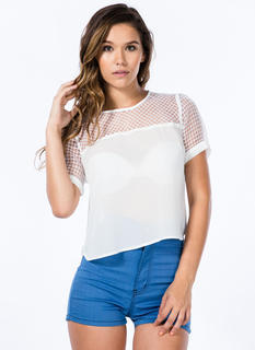 Net Worth Grid Organza Contrast Top