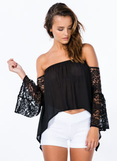 Off-The-Shoulder Lace Sleeve Top