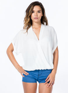Surplice Surplus Draped Dolman Blouse