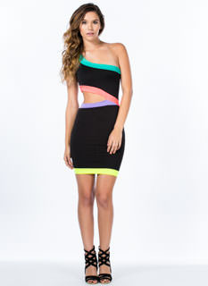 Neon Intersection One-Shoulder Dress