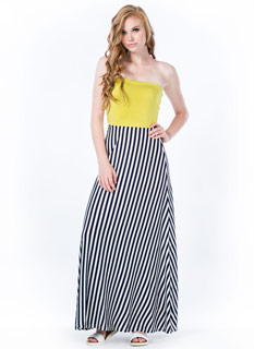 A Stripe To Behold Strapless Maxi