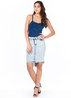 Acid Wash High-Low Pencil Skirt