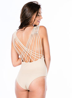 Lattice Back Strappy Bodysuit