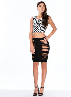 Strategic Slits Bodycon Skirt