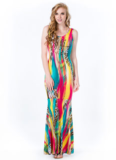 Wild Streak Paint Print Mermaid Maxi