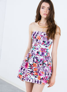 Bandaged Up Floral Skater Dress