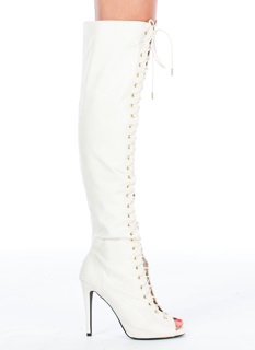Laced To The Finish Peep-Toe Boots