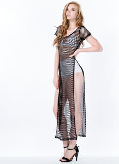Open Relationship Mesh Maxi Dress