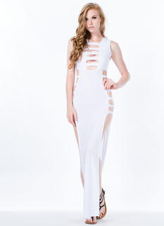 Ladder Cut-Out Double Slit Maxi Dress