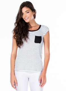 Pocket Full Striped Scoop Neck Tee