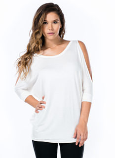 Splitsville Cold Shoulder Dolman Top