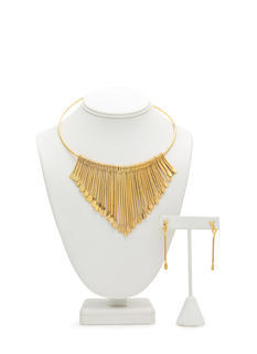 Paddle Spoke Fringe Metal Choker Set