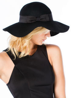 Cinched Bow Floppy Wool Hat