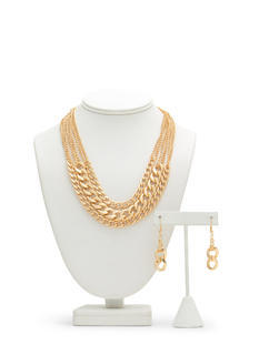 Three Chains Layered Necklace Set