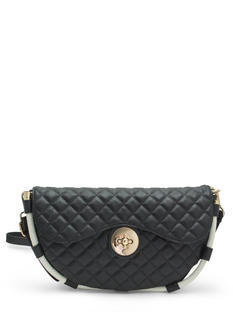 Quilted Half-Circle Cord Trim Handbag
