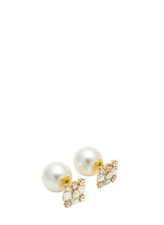 Pearl Backed Faux Jeweled Earrings