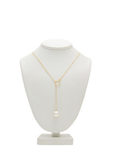 Square 'N Faux Pearl Lariat Necklace