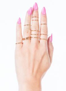 Dainty Hammered Ring Set