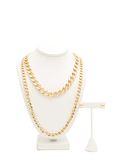 Metal Curb Link Chain Necklace Set