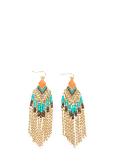 Tribal Beaded Fringe Earrings