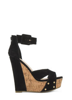 Studded Faux Cork Wedges