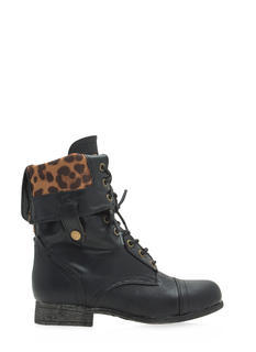 Foldover Lace-Up Combat Boots