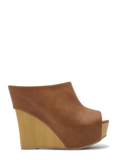 No Intro Faux Leather Mule Wedges