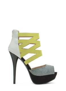 Faux Nubuck Geo Cut-Out Heels