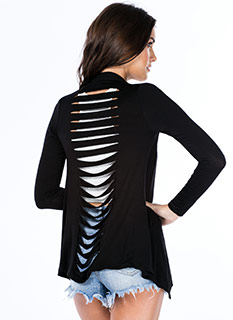 Slit Back And Relax Slashed Cardigan