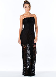 Lace Is More Strapless Ruffle Maxi Dress
