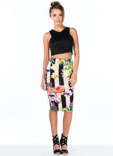 Print Mixer Stripes 'N Floral Pencil Skirt