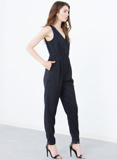 Best Of The Vest Pinstripe Jumpsuit