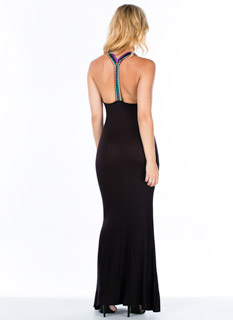 Embroidered Y-Strap Maxi Dress